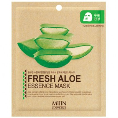 Маска для лица тканевая алое Mijin FRESH ALOE ESSENCE MASK 25гр: фото