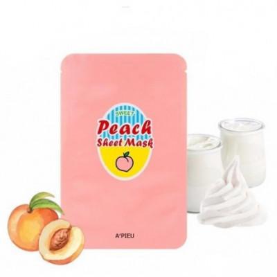 Тканевая маска с экстрактом персика и йогуртом A'PIEU Peach&Yogurt Sheet Mask 23гр: фото
