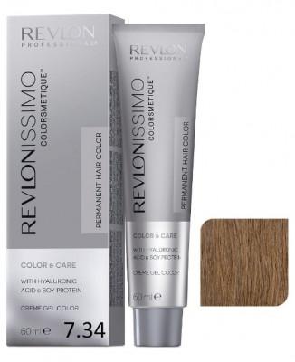 Краска перманентная Revlon Professional Revlonissimo Colorsmetique 7.34 Блондин Золотисто-Медный 60мл: фото