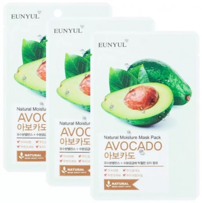 Тканевая маска с экстрактом авокадо EUNYUL NATURAL MOSTURE MASK PACK AVOCADO 22мл*3 шт: фото