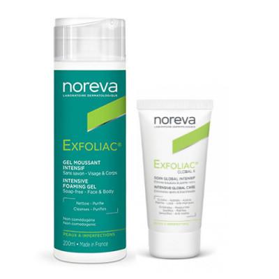 Набор для проблемной кожи NOREVA EXFOLIAC: Интенсивный пенящийся гель 200мл + Крем Глобал 6 30мл: фото