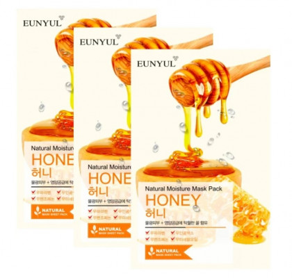 Тканевая маска с медом EUNYUL NATURAL MOISTURE MASK PACK ROYAL JELLY 22мл*3 шт: фото