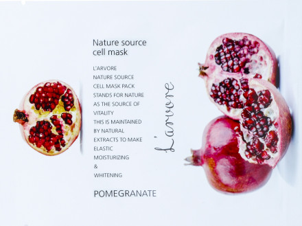 Тканевая маска с гранатом L'arvore Nature Source Cell Mask Pomegranate 25 г: фото