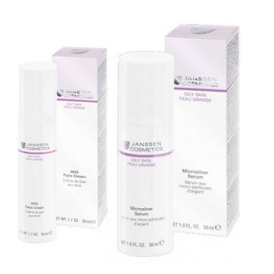 Набор Для жирной и комбинированной кожи Janssen Oily skin: лёгкий активный крем с фруктовыми кислотами 50мл + сыворотка с антибактериальным действием для жирной воспаленной кожи 30мл + розовая косметичка: фото