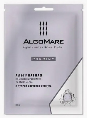 Альгинатная премиум-маска с жемчугом ALGOMARE 30 г: фото