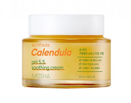 Успокаивающий крем с календулой MISSHA Su:Nhada Calendula pH Balancing & Soothing Cream 50мл: фото